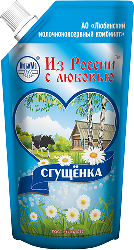 Milk-Containing Condensed Products, with Sugar and Milk Fat Substitute Sgushchyonka (Doy-Pack)